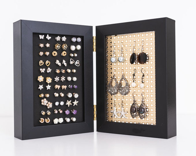 4x6 Framed Earring Organizer - Gold Metal Screen - Black Frames - Stud & Earring Holder - Standing Earring Display - Keep Earring Backs ON!