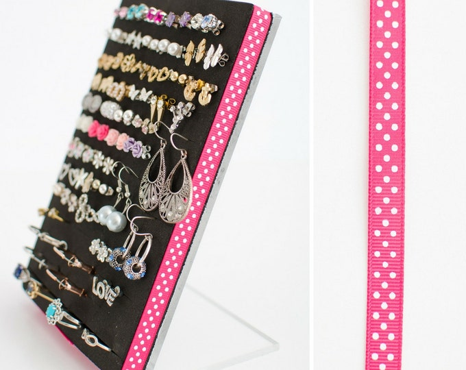 Acrylic Earring Stand - Pink Polka Dot Ribbon - Earring Display