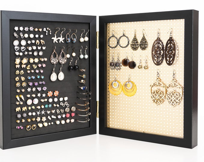 8x10 Black Framed Earring Holder - Gold Metal Screen - Hook & Stud Earring Organizer - Standing Jewelry Display - Keep Earring Backs ON!