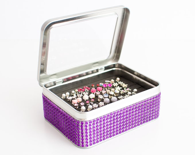 Tin Jewelry Box - Purple Jeweled Ribbon - Earring Organizer - Travel Earring Box