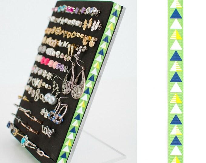 Stud or Post Earring Organizer - Green Arrow Ribbon - Jewelry Organizer