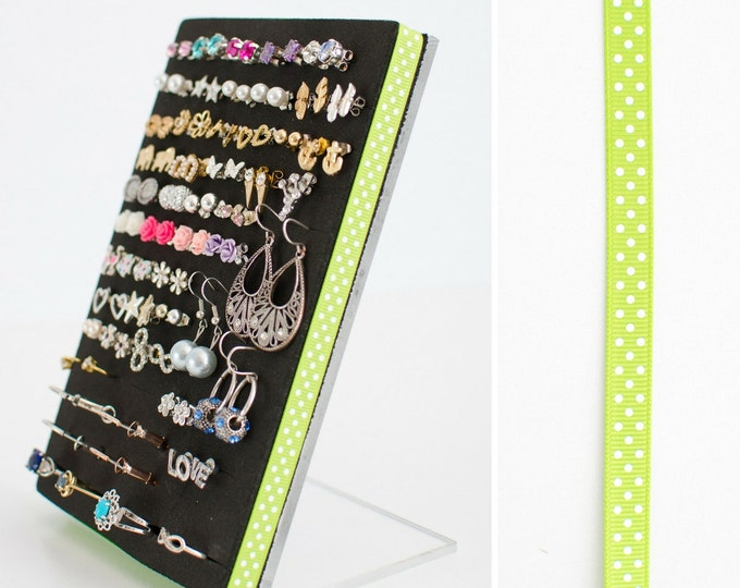 Stud Earring Holder - Green Polka Dot Ribbon - Earring Organizer
