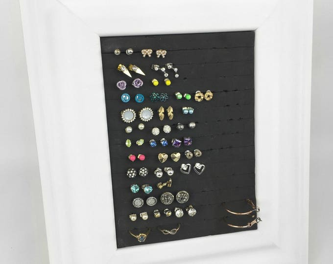 Earring Holder - White Frame - 5x7 Size - Jewelry Display & Organizer