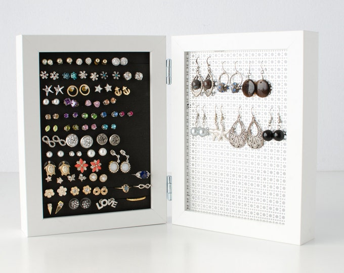 Earring Holder - White 5x7 Double Frames - Hook & Stud Earring Organizer