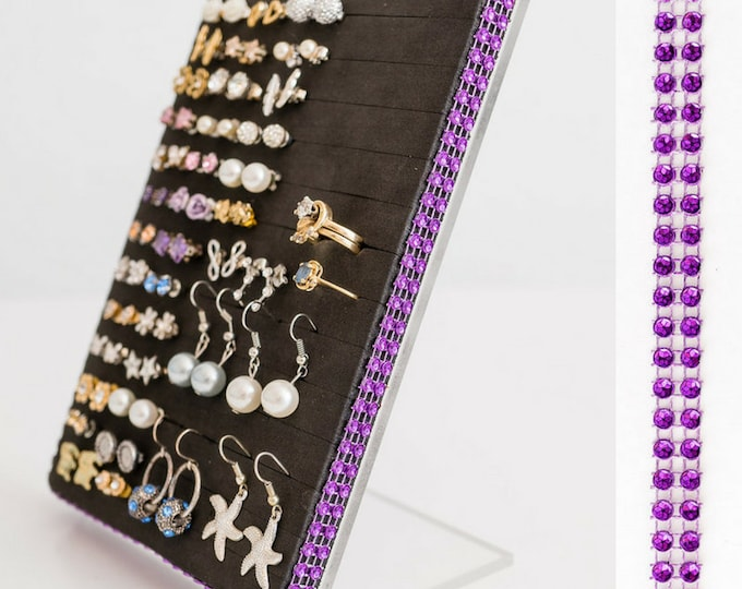 Earring Holder & Organizer - Purple Dazzled Ribbon - 5x7 Acrylic Stand