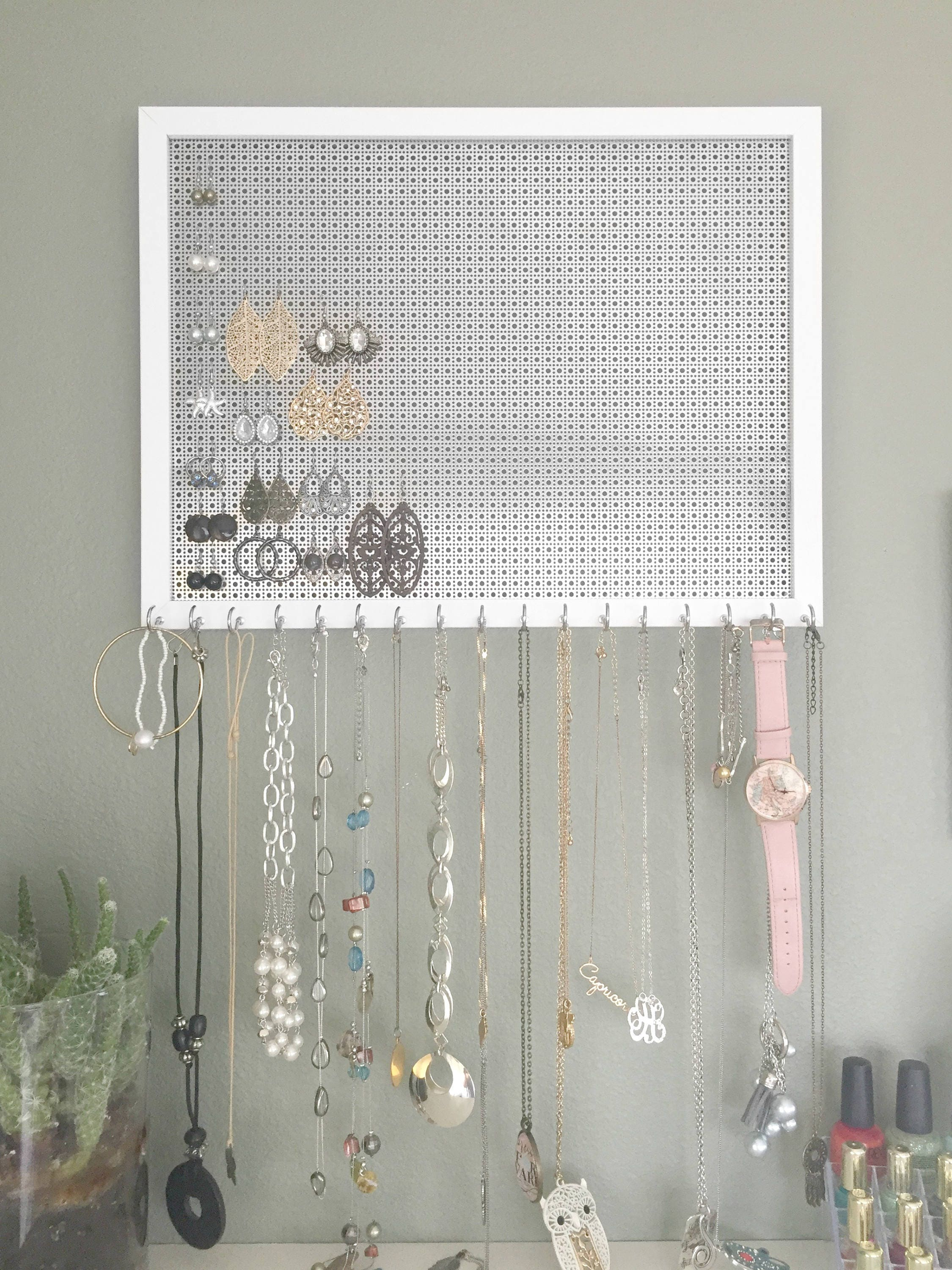 13x17 Ultimate Hanging Jewelry Organizer - White Frame - Silver ...