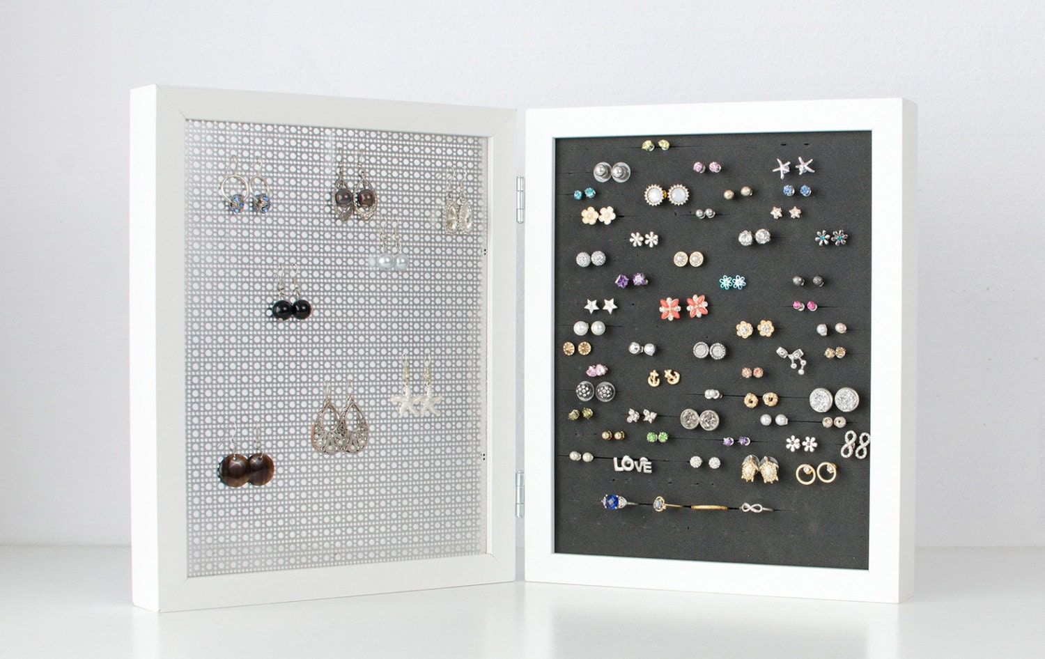 Earring Organizer - White Double Frames - 8x10 Size - Hook & Stud ...