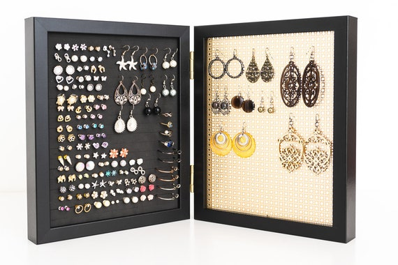 Hook Earring /& Necklace Organizer White Frame Dangle Earring Organizer Gift for Her Earring Display Necklace Holder Metal Screen
