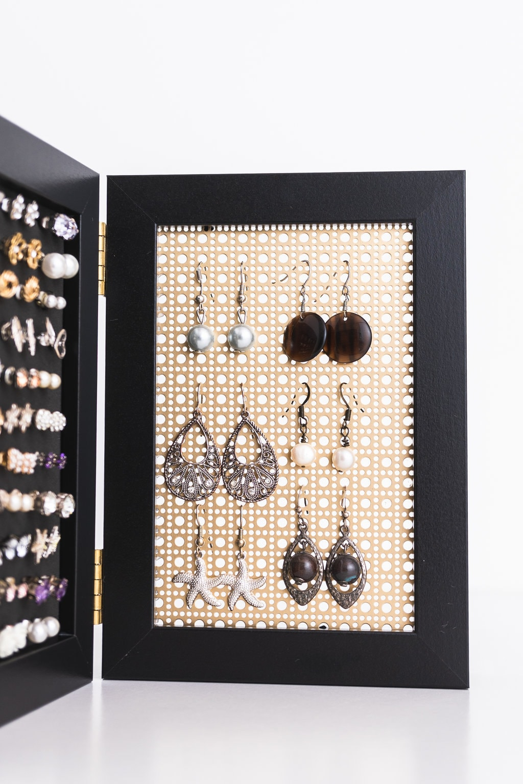 4x6 Framed Earring Organizer - Gold Metal Screen - Black Frames ...