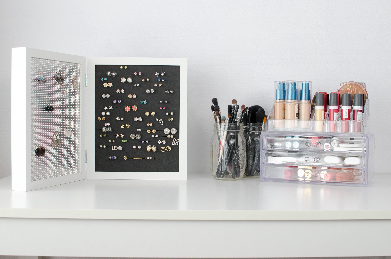 Earring Organizer - White Double Frames - 8x10 Size - Hook & Stud ...