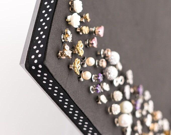 Earring Organizer - 8x10 Size Acrylic Stand- Black and White Polka Dot Ribbon - Jewelry Display