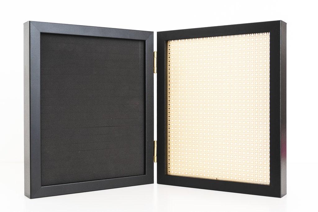 8x10 Black Framed Earring Holder Gold Metal Screen Hook Stud