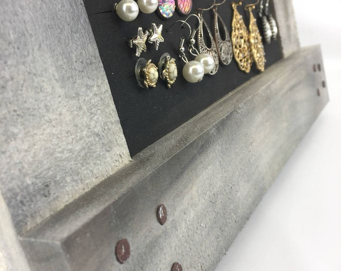 Gray Earring Organizer - Rustic Frame  - Jewelry Holder - 8x10 Size
