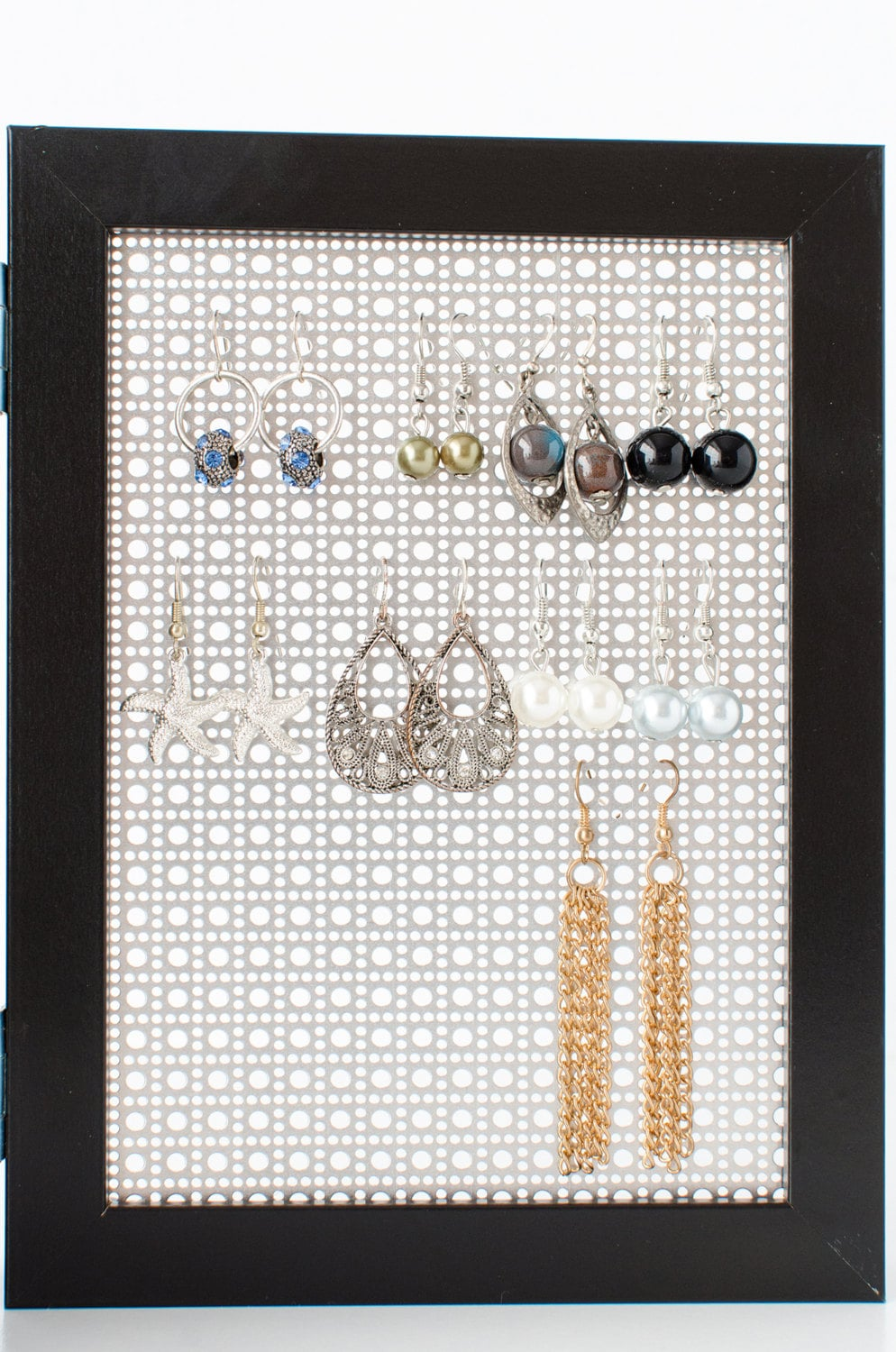 Earring Holder Black 5x7 Double Frames Stud Hook Earring Organizer