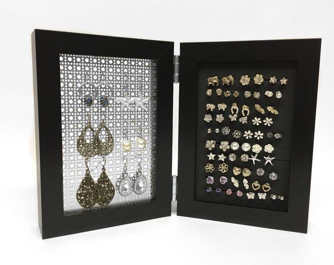 Framed Earring Holder - Black 4x6 Size - Hook & Stud Earring Display