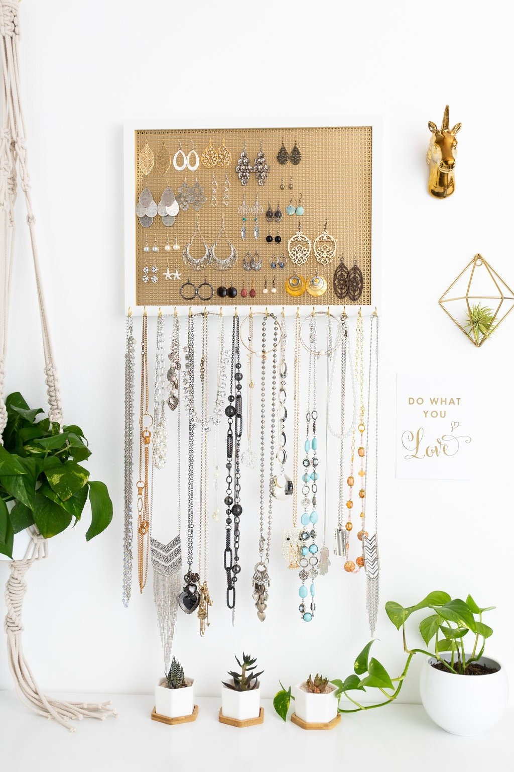 13X17 Ultimate Hanging Jewelry Organizer - Gold Metal Screen - White ...