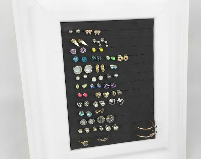 Earring Holder - White Frame - 5x7 Size - Jewelry Display & Organizer