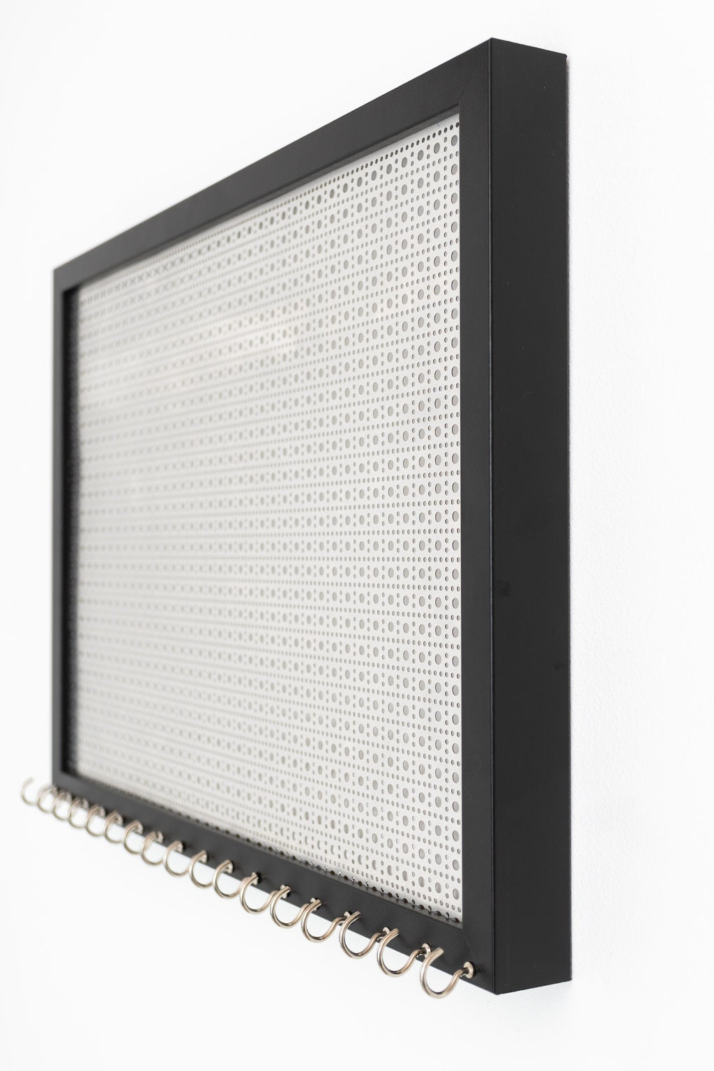 13x17 Ultimate Hanging Jewelry Organizer - Black Frame - Silver ...