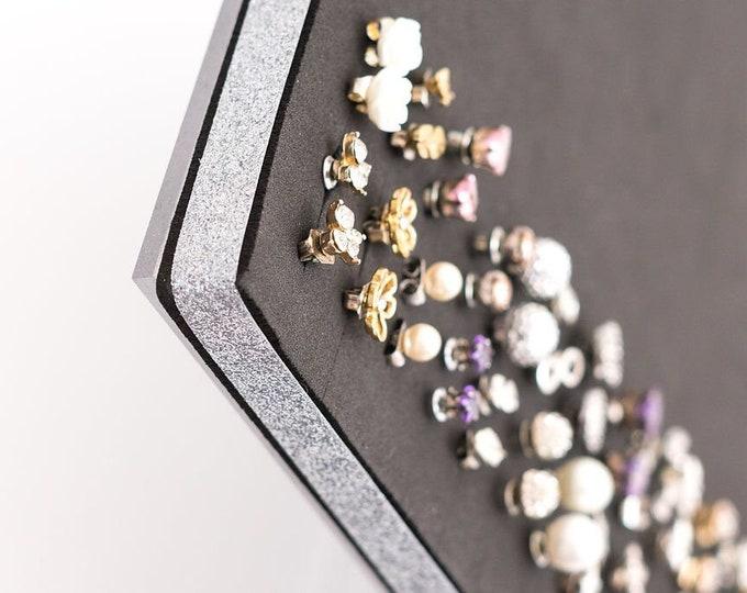 Earring Organizer - 8x10 Size Acrylic Stand-  SILVER RIBBON- Jewelry Display