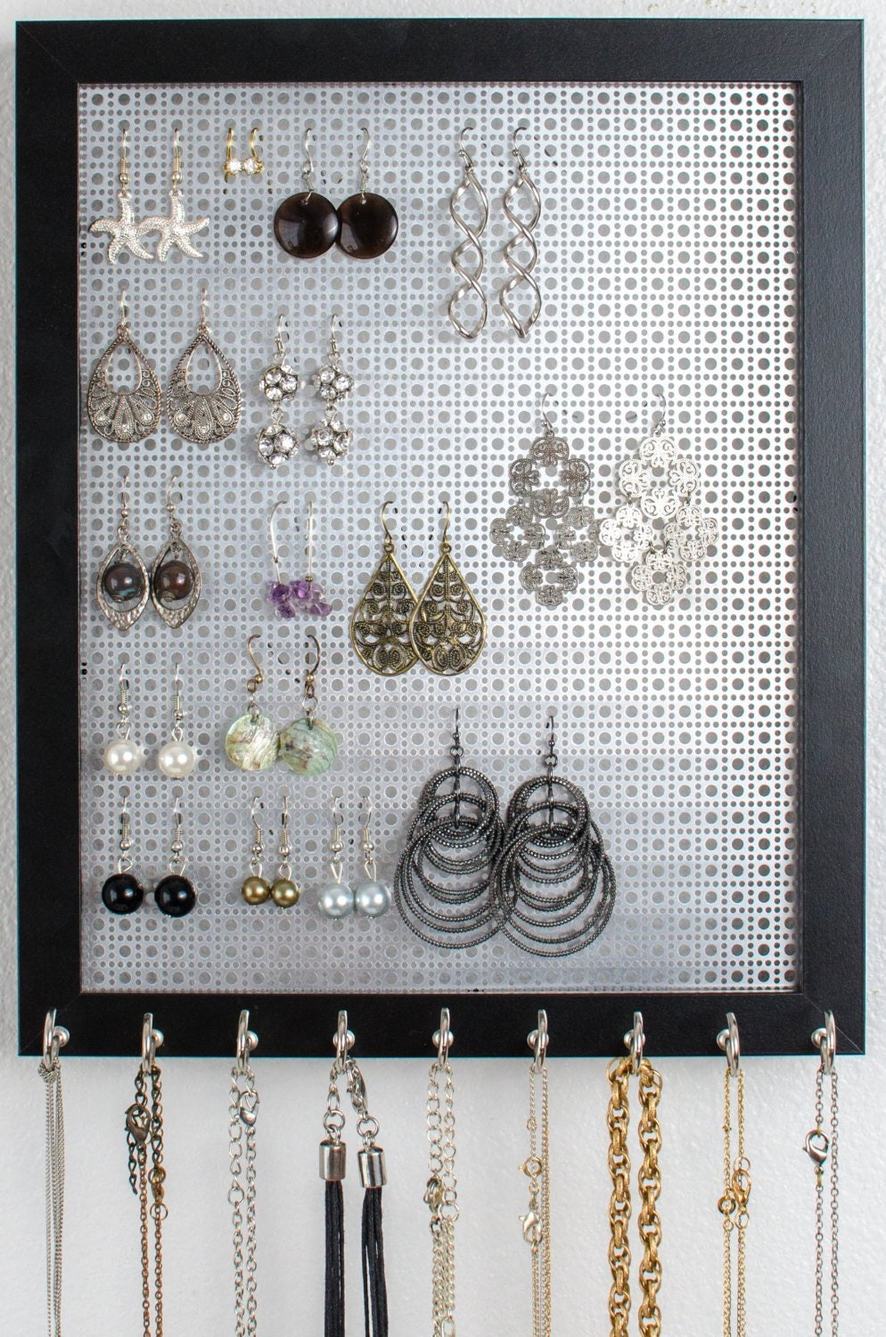Hanging Jewelry Organizer - Silver Metal Screen - 8x10 Size - Black ...