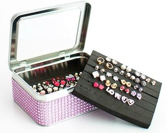 Tin Jewelry Box - Light Pink Dazzled Ribbon - EXTRA INSERT - Travel Jewelry Tin