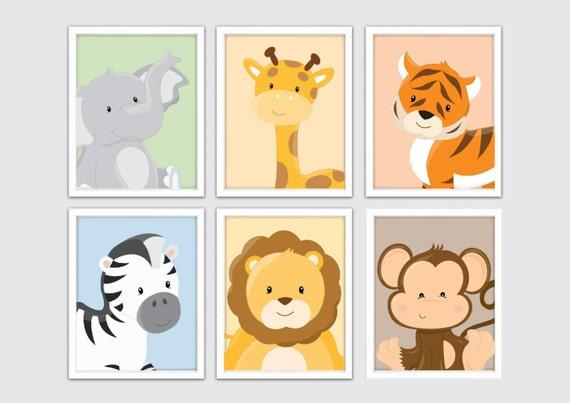 Jungle Nursery Wall Prints Kids Safari Wall Art Safari