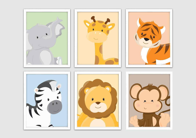 Jungle Nursery Wall Prints Kids Safari Wall Art Safari | Etsy