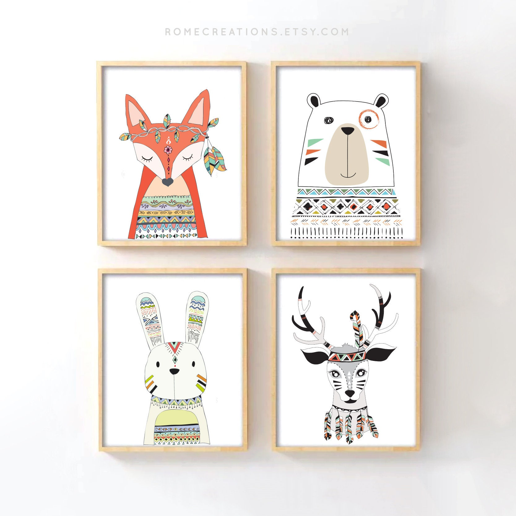 5f98c798a323 Tribal Woodland Art Tribal Animal Art for Boho Chic Nursery