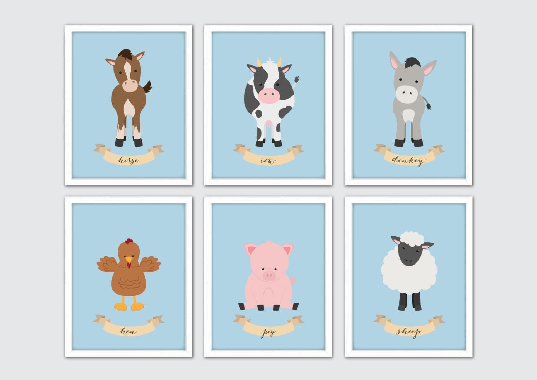 Bauernhof-Tiere-Kinderzimmer-Kunst Set von 6 | Etsy