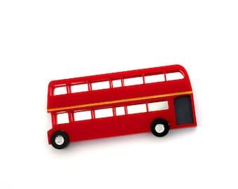 Double Decker Bus brooch, acrylic brooch, London bus, British theme, laser cut acrylic, bus brooch, London underground, double decker bus