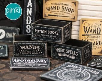 Dollhouse Miniature Accessory - Wooden Miniature Halloween/Wizard/Magical Boxes - Handmade Dollhouse Miniature Accessory 1/12th Scale