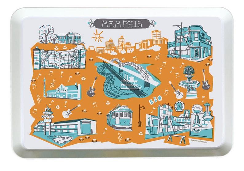 Memphis City Tray-City Tray-Melamine Tray-City Serving Tray-Home Decor-Personalized-Custom Tray-Any City Tray