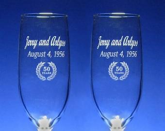 NokNoks 50th  Anniversary Champagne Toasting Flutes - Wedding - 8 oz - wine glass - personalized