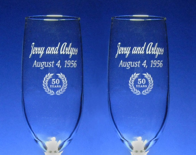 NokNoks 50th  Anniversary Champagne Toasting Flutes - Wedding - 8 oz - wine glass - personalized