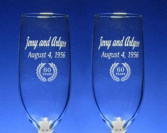 NokNoks 60th  Anniversary Champagne Toasting Flutes - Wedding - 8 oz - wine glass - personalized