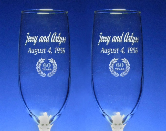 60th  Anniversary Champagne Toasting Flutes - Sixtieth, Engraved, Personalized, Wedding - 8 oz - wine glass -