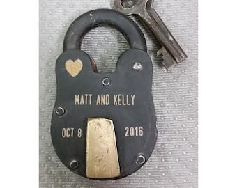 NokNoks LOVELOCK, Antique Vintage  Padlock, Engraved, Personalized, Wedding, Anniversary, Proposal, Gift