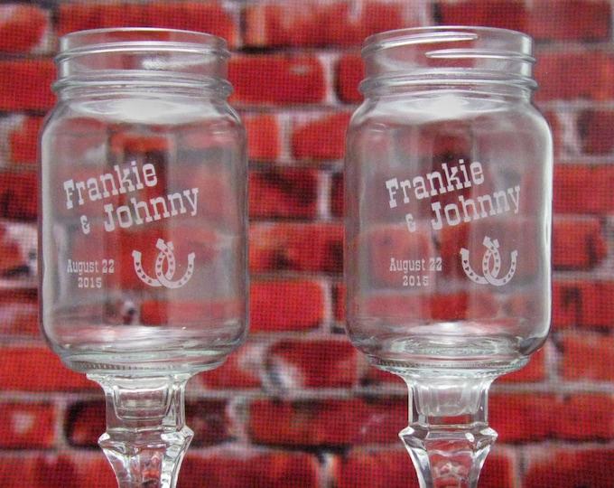 Horseshoe REDNECK WINE GLASSES  - Personalized -  Hillbilly Wine Glasses - Wedding -Anniversary - Mason Jar