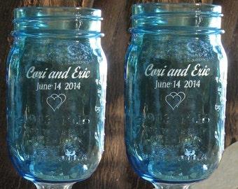 NokNoks Blue Redneck  Wine Glasses  - Engraved,  Personalized, 2 - 16 OZ -   aka Hillbilly Wine Glasses - Wedding -Anniversary - Mason Jar