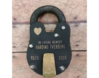 MEMORIAL PADLOCK,  Antique Vintage, Engraved Lock, Personalized