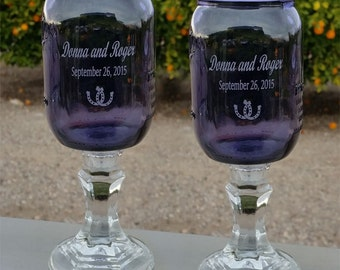 Purple Redneck  Wine Glasses  - Horseshoe, Engraved,  Personalized, 2 - 16 OZ -  Hillbilly Wine Glasses - Wedding -Anniversary - Mason Jar