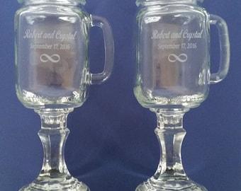 INFINITY  Redneck  Wine Glasses - WITH Handles -    2 Engraved  - 16 OZ - Personalized - Hillbilly - Wedding -Anniversary - Mason Jar