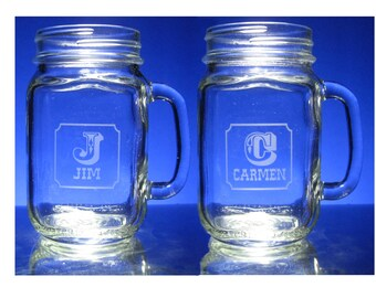 2 ENGRAVED  MASON JARS - drinking jars with handle, Personalized Wedding Anniversary, 16 oz