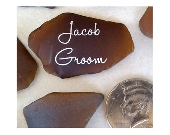 NAUTICAL THEME  WEDDING Sea Glass  Escort Cards, Seating Cards  - Brown  Beach Glass, Machine Tumbled, 100 Pieces. Item 7401