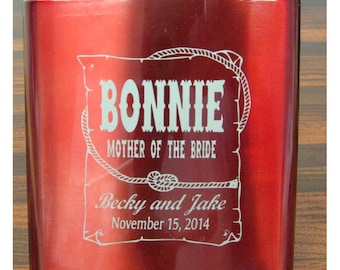 FLASK - Personalized 6 oz Stainless Flask, RED, Mother of the Bride, Engraved,  Western Theme