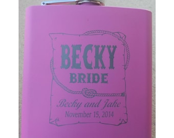 FLASK - Personalized 6 oz Stainless Flask, PINK, Mother of the Bride, Engraved,  Western Theme