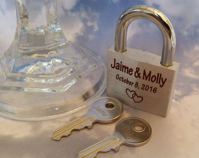 LOVE LOCK - Personalized Engraved Padlock, 2 Engraved Keys, Wedding, Proposal, Anniversary