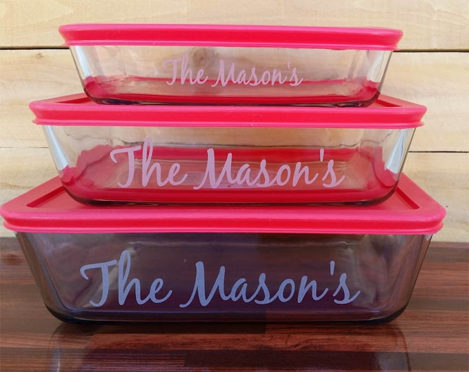 NokNoks Pyrex  Glass Storage  Dishes, 6 piece, engraved, 3, 6, 11 cup, Red plastic lids, personalized