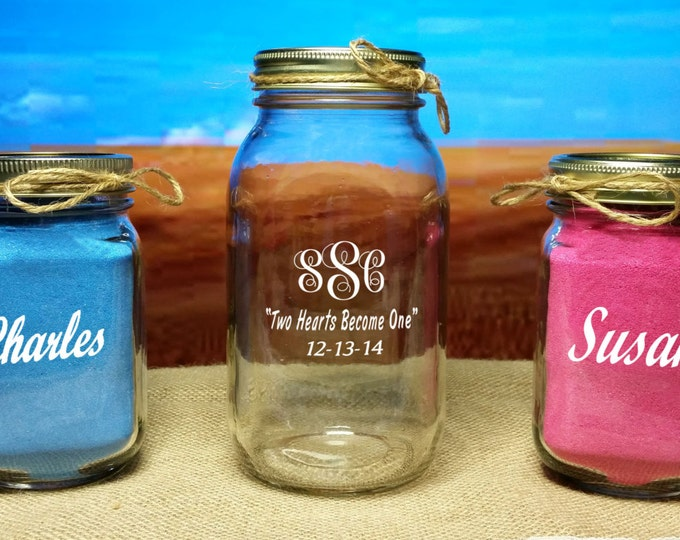 REDNECK Sand Ceremony, Monogrammed 3 Piece set, WITH SAND! -  Engraved, Monogrammed, Personalized,  Mason Jars - wedding