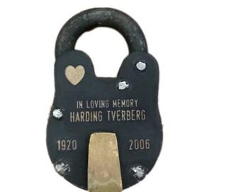 IN MEMORY OF, Memorial Padlock, Antique Vintage, Lock, Personalized